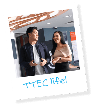 Smiling customer service associates. When you click below, you'll learn more about TTEC Life!