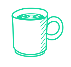 Coffee cup icon as an example of the benefits of our work from home jobs